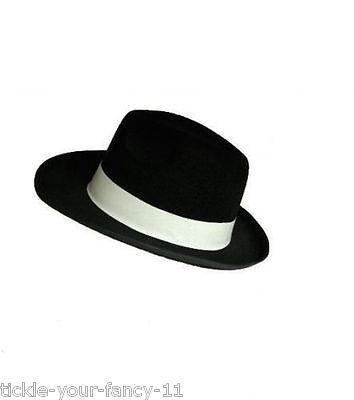 MEN'S AL CAPONE BLACK GANGSTER HAT & WHITE MOB FANCY DRESS MICHAEL JACKSON - Black And White Michael Jackson Kostüm