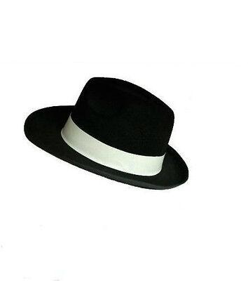 BLACK GANGSTER HAT WITH WHITE AL CAPONE MOB MICHAEL JACKSON FANCY DRESS - Black And White Michael Jackson Kostüm