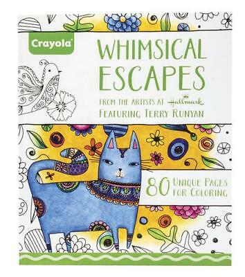 Crayola Adult Coloring Book Whimsical Escapes 80 pages by Hallmark Artist Runyan