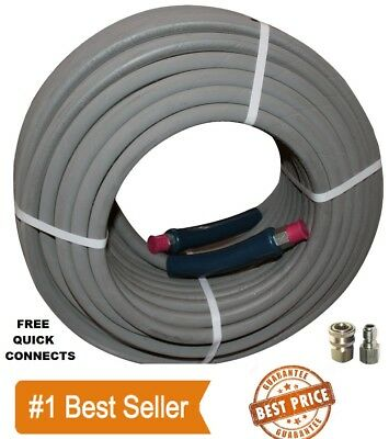 """Pressure Washer Parts 100 ft foot 3/8"""" Gray Non-Marking 4000psi Pressure Hose QC"""
