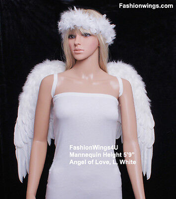 FashionWings Large Wingspan Unisex Costume Feather Angel Wings Black White Red](Large Black Feather Wings)