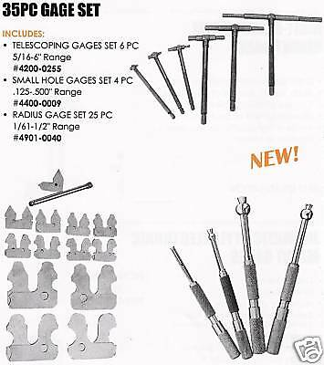 35 Pc Gage Sets Telescoping Radius Small Hole