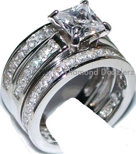 3 pc sterling silver wedding ring set ebay for 3pc wedding ring set