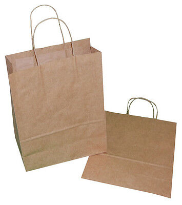 20 Medium Brown Paper Carrier Gift Retail Bags 240mm x 110mm x 320mm