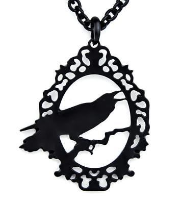 Black Raven Crow Silhouette Necklace with Chain Edgar Alan Poe Gothic Halloween - Halloween Crow Silhouette
