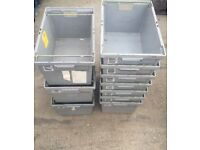 6 X Heavy Duty 30cm Deep Stackable Boxes With Metal Bail Arms Solid Crates Car Parts Machinery