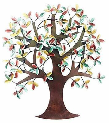 Leaves Wall Sculpture (Tree of Life Metal Wall Art Sculpture Colorful Leaves Home Office Decor Large)