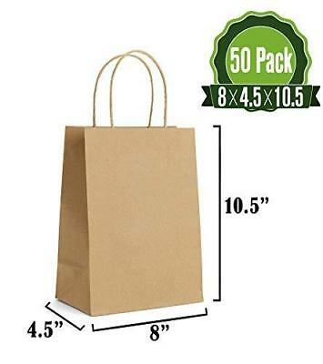 Brown Kraft Paper Gift Bags Bulk with Handles 50Pc [ Ideal for Shopping, (Brown Kraft Bags)