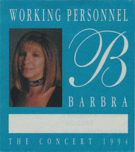 Barbra Streisand ORIGINAL 1994 The Concert Tour Personnel Backstage Pass unused