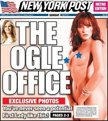 """NY Post Nude Melania Trump 7/31/2016 """"The Ogle Office"""" Free Shipping B8"""