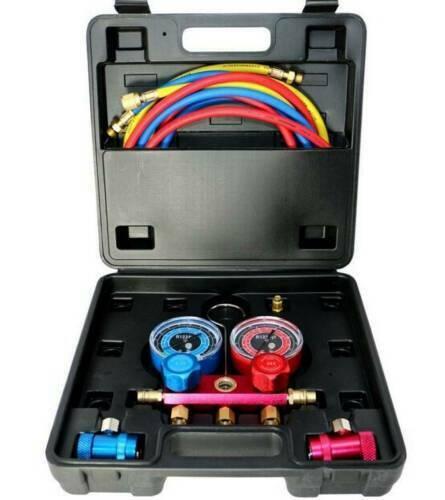 R1234YF Gauge Set #1234 and Vacuum Pump Adapter, Sight Glass, Professional Set
