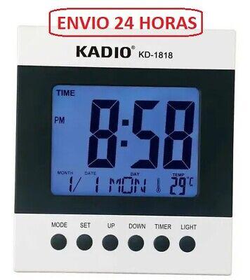 Reloj Despertador Digital Alarma LED Temperatura Calendario 16