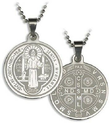 Stainless Steel  St Benedict Laser Engraved Pendant and 22 in chain Laser Engraved Pendants