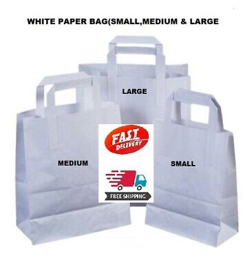 100 x KRAFT PAPER LARGE WHITE SOS FOOD CARRIER BAGS WITH HANDLES PARTY TAKEAWAY