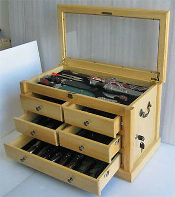 Large Knife Display Case Storage Cabinet W/shadow Box On ...