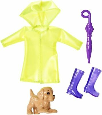 Barbie Sisters Chelsea Club Doll Rain Coat & Puppy Dog Outfit with New FXN71
