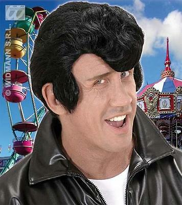Boys From Grease (Deluxe Black Quiff Wig Danny From Grease Teddy Boy Sideburn Fancy)
