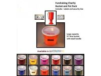 Charity collection bucket and pot with labels , comes in 12 colours, only £10.50 includes postage