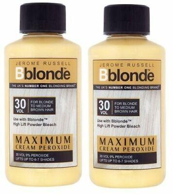 2 x 75ml Jerome Russell Bblonde Cream Peroxide Maximum Lift 30 VOL & 9% Peroxide