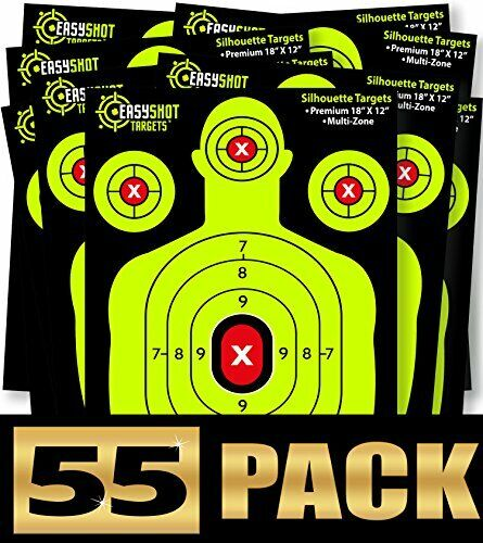 Sturdy Silhouette Paper Target Shooting Sheets w/ High Contrasting Colors 55pack