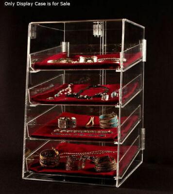 4 Tier Acrylic Jewelry Display Case Wremovable Trays 12w X 14d X 19h