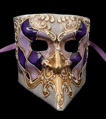 Mask from Venice Bauta Purple Silver Golden Paper Mache 1794 CB1