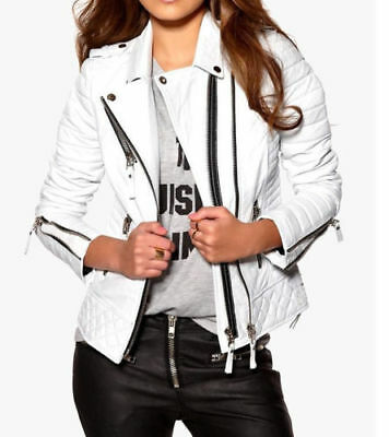 Women Biker Quilted White Sheep or Faux Leather Jacket - Black Friday Best