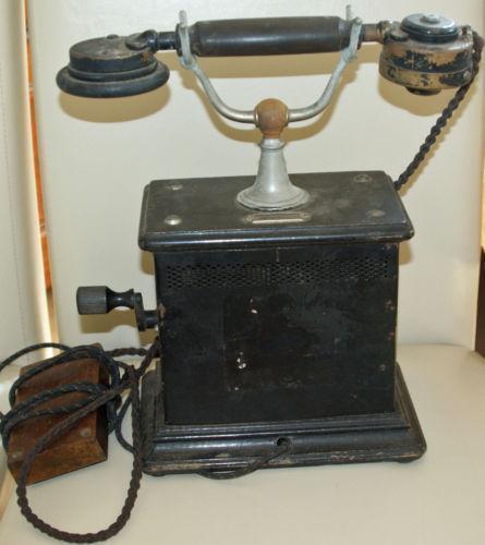 altes telefon kurbel ebay. Black Bedroom Furniture Sets. Home Design Ideas