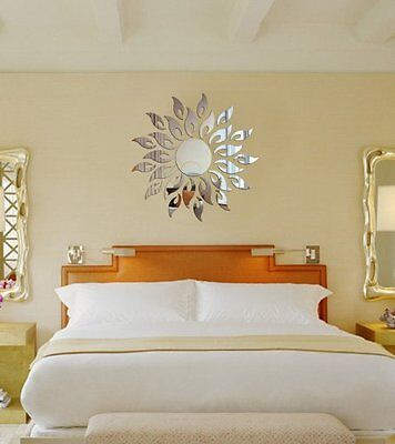 3D Mirror Wall Decal Decor Art Sticker Home Sunshine Fire Round Flower Acrylic