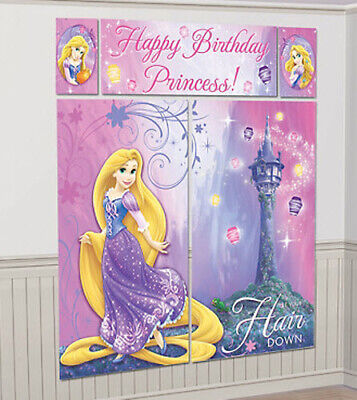 Tangled Birthday Party Decorations (RAPUNZEL Scene Setter HAPPY BIRTHDAY party wall decoration kit over 6')