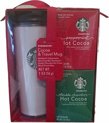 NEW Starbucks Peppermint and Double Chocolate Hot Cocoa and Travel Mug Set