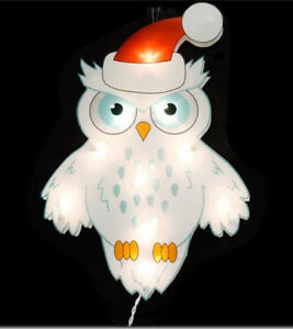 Snowy-Christmas-White-Santa-Owl-Lighted-Window-Wall-Owls-Decoration-Winter