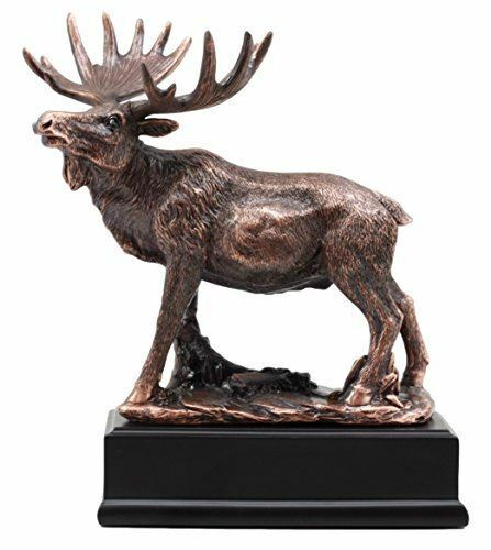 """Ebros Gift The Emperor Bull Moose Statue Bronze Electroplated With Base 6.75"""" L"""