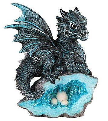 """5"""" Blue Medieval Baby Dragon with Crystal Egg Nest Decorative Figurine Statue"""