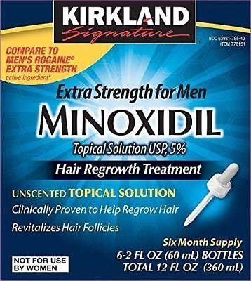 Kirkland Minoxidil 5% Extra Strength Men 6 Month Supply Hair Regrowth EXP 08/19