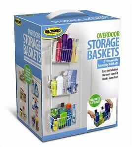 overdoor storage basket organizer hanging kitchen bath closet removable baskets ebay. Black Bedroom Furniture Sets. Home Design Ideas