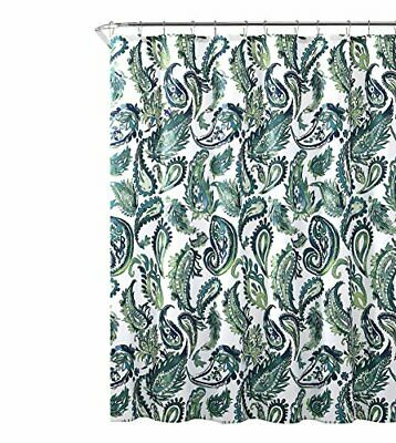 "Blue Green Fabric Shower Curtain: Watercolor Floral Paisley Design, 72"" x 72"" for sale  Chicago"