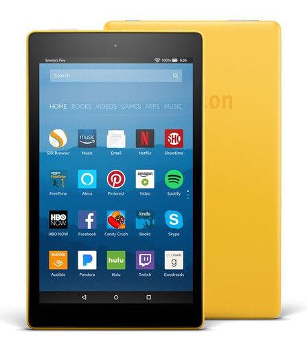 BRAND NEW Amazon Kindle Fire HD 8 Tablet 16 GB w/Alexa 7th Gen 2017 Yellow