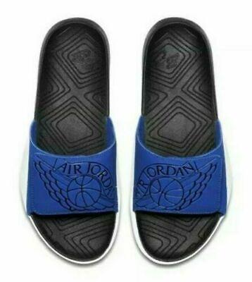 Nike Air Jordan Hydro 7 Men Slides Blue Black White AA2517-400 Size 12 & 14 - Black White Jordans