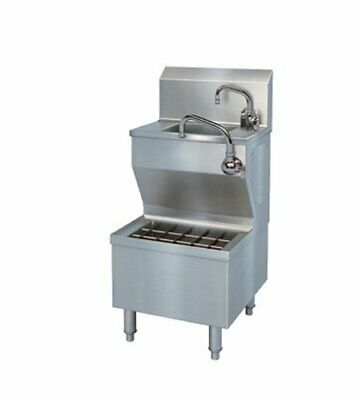 Bsi Hsius Brushed Stainless Steel Hand Sink With Integral Utility Sink 30