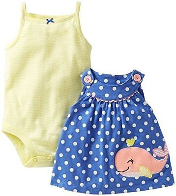 New NWT Carters Baby Infant Girls 2 piece dress set yellow blue polka dot - Baby Girls 2 Piece Dress