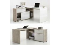 Diego Sand Oak & White High Gloss Computer Office Corner Desk with Shelving