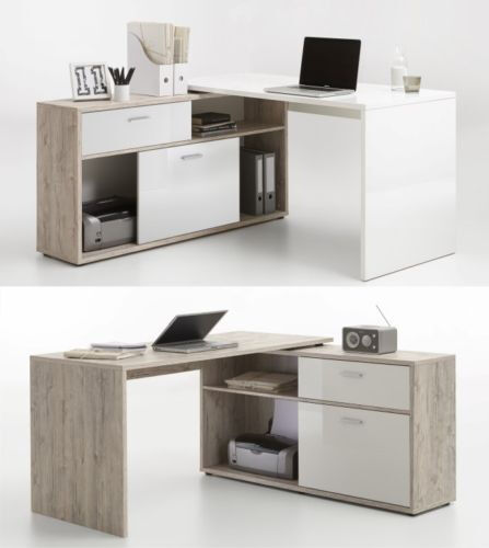 Diego Sand Oak White High Gloss Computer Office Corner Desk with