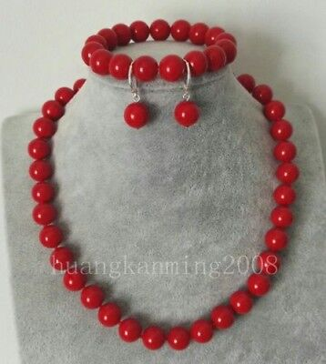 Coral Necklace Bracelet Earring - 10mm Red Coral Round Beads Necklace Bracelet Earring Set