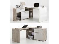 Diego Sand Oak & White High Gloss Computer Office Corner Desk with Shelving