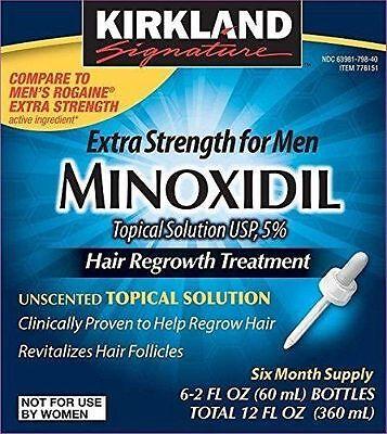 Kirkland 5  Minoxidil Hair Regrowth Solution Mens 6 Month Supply Extra Strength
