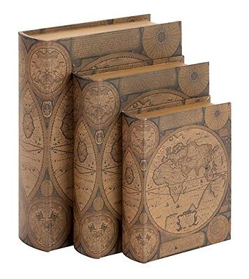 Deco 79 Beautifully Designed Wood Leather Book Box, Set of 3