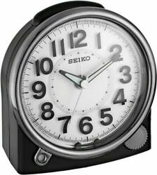 SEIKO NEW BLACK ALARM CLOCK  WITH QUIET SWEEP QHE143JLH W/ CONSTANT LIGHT