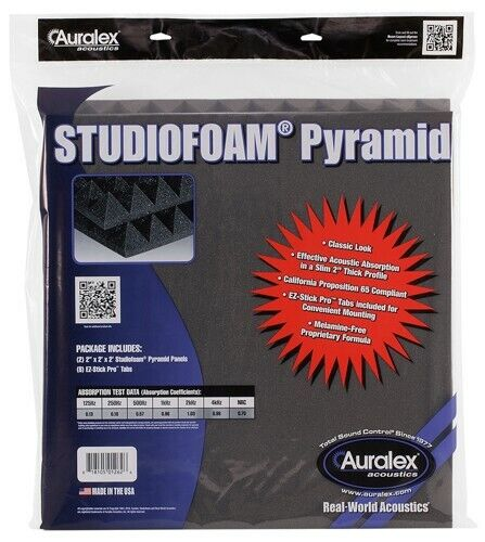 Auralex Studiofoam Pyramid Panels, Pair, Charcoal