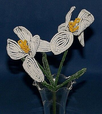 Vintage French Glass Beaded White Iris (2) Flower Bouquet